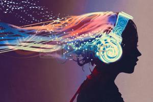 69511203-mujer-con-los-auriculares-que-brillan-intensamente-mágicas-en-fondo-oscuro-pintura-ilustración