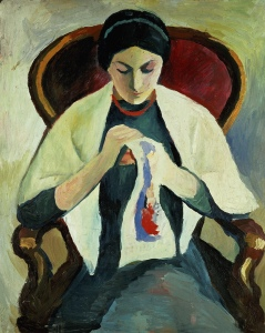 August Macke, Woman Sewing