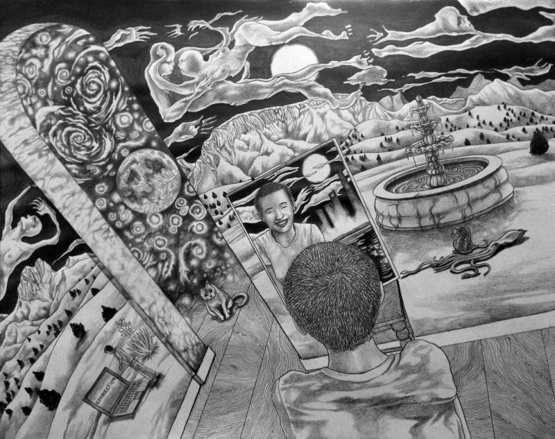home (家). 11x14. pencil drawing. @adam sturch...